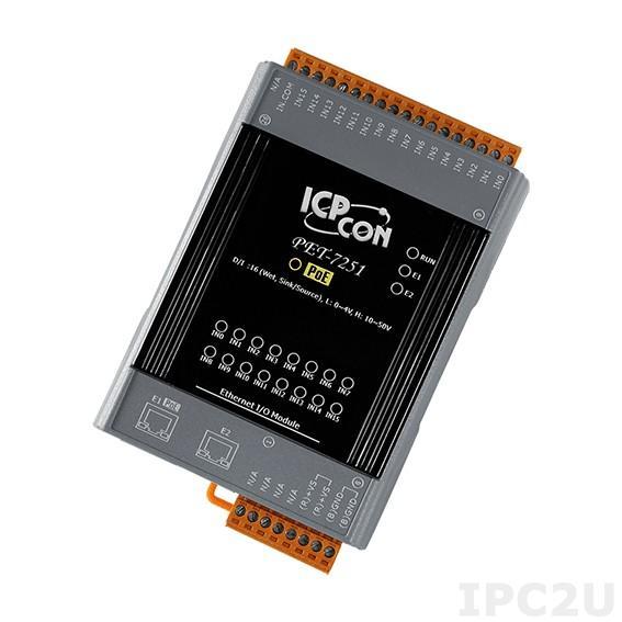 PET-7251 Модуль ввода, 16 каналов дискретного ввода, мокрый контакт, 2xEthernet, PoE
