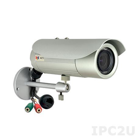 E41 1 МП цилиндрическая IP-камера, вариофокальный объектив f3.3-12мм/F1.6, H.264/MJPEG, 720p/30кадр/сек, день/ночь, адапт. ИК подсветка, WDR, DNR, PoE, IP68, IK10, -40..+50C