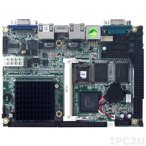 """SBC84620VEA-500 Процессорная плата формата 3.5"""" с AMD LX800 500МГц, VGA, LAN, Audio, 4xCOM, 1xPC/104"""