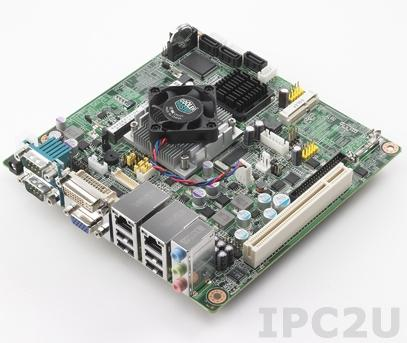 AIMB-213D-S6A1E Процессорная плата Mini-ITX, Intel Atom D525 1.8ГГц, до 4Гб DDR3 SO-DIMM, VGA, DVI, LVDS, 2xGbe LAN, 3xSATA, 6xCOM, 8xUSB, слоты расширения 1xMini-PCIe, 1xPCI