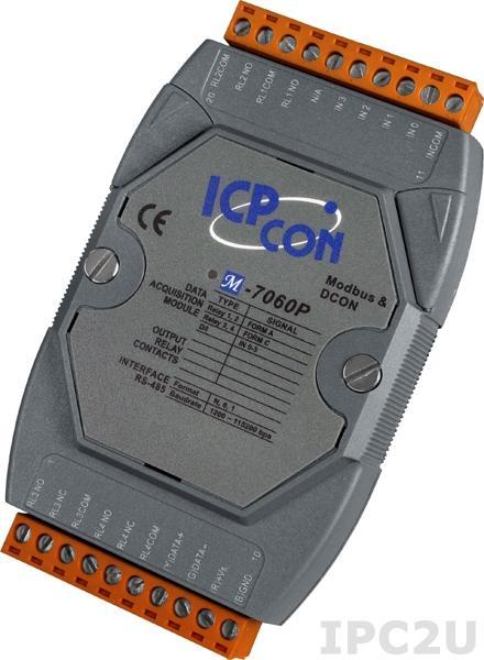 M-7060P Модуль ввода - вывода, 4 канала мощного релейного вывода / 4 канала дискретного ввода, c изоляцией до 3750 В, защита от EMS, Modbus RTU