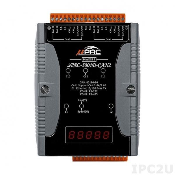 uPAC-5001D-CAN2 PC-совместимый промышленный контроллер 80MHz, 512KB Flash, 512KB SRAM, 16KB EEPROM, 31B NVRAM, microSD, 1xRS232, 1xRS485, 1xFastLAN, 2xCAN, LED индикация, 12-48 VDC