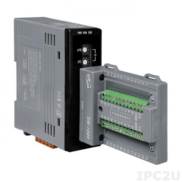 CAN-2019C/S Модуль ввода, 10 дифф. каналов аналогового ввода или сигналов с термопары J, K, T, E, R, S, B, N, C, АЦП 16 бит, CANopen Slave, плата клеммников с разъемом DB-25