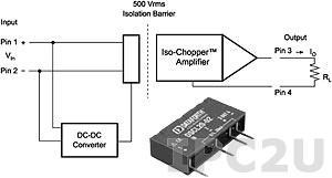 DSCL20-02 Изолятор с питанием от входного сигнала, вход 0...20 (4...20) мА, токовая петля, выход 0...20 (4...20) мА, установка на печатную плату