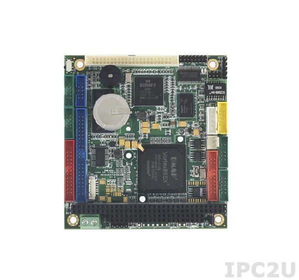 VSX-6153-V2-X PC/104 процессорная плата Vortex86SX 300МГц с 128Мб DDR2 RAM, VGA/LCD/LVDS, LAN, 4xCOM, 2xUSB, GPIO, LPT, 2xPS/2, IDE 44контакта, CompactFlash Socket, -40...+85