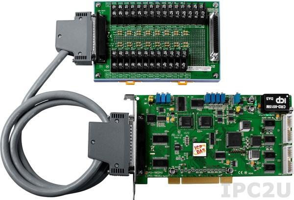 PCI-1802HU/S Многофункциональный адаптер Universal PCI, 32SE/16D каналов АЦП, FIFO, 2 канала ЦАП, 16DI, 16DO, таймер, разъем CA-4002