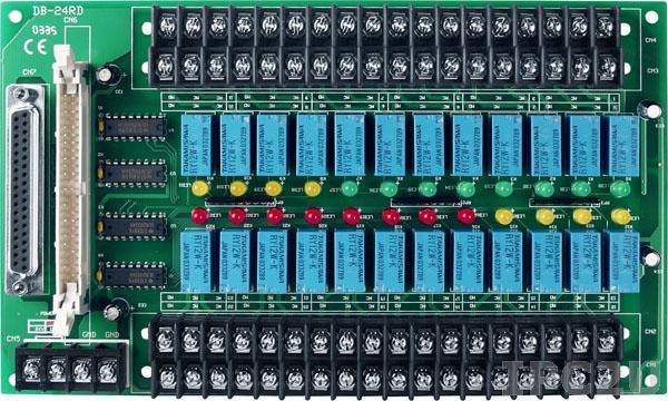 DB-24RD/12 Выносная плата 24 реле (12В) с перекидными контактами(120Vac@0.5A,60Vdc@1A), совместима с Opto-22, разъем DB37