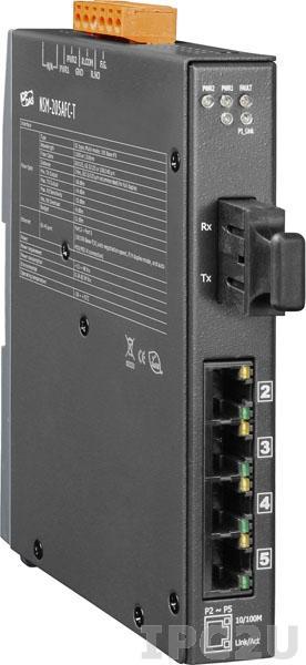 NSM-205AFCS-T Промышленный 5-портовый неуправляемый коммутатор: 4 х 10/100 BaseT(X), 1 х 100BaseFX (одномодовое волокно, разъем SC, до 30 км), металлический корпус