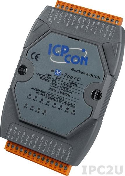 M-7061D Модуль ввода - вывода, 12 каналов релейного вывода Form A и индикацией