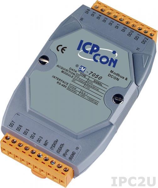 M-7050 Модуль ввода - вывода, 7 каналов дискретного ввода / 8 каналов дискретного вывода, Modbus RTU