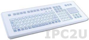 TKS-105c-TOUCH-KGEH-PS/2 Настольная промышленная IP65 клавиатура, 105 клавиш, тачпад, PS/2