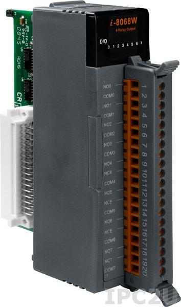 I-8068W Высокопрофильный модуль вывода, 8 каналов мощного релейного вывода, с изоляцией до 1500В, параллельная шина