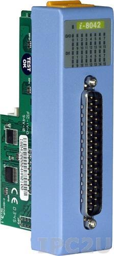 I-8042 Низкопрофильный модуль ввода - вывода, 16 каналов дискретного ввода, контакт с внешним питанием / 16 каналов дискретного вывода, открытый коллектор, с изоляцией до 3750В, параллельная шина