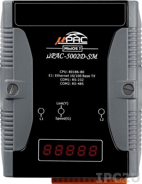 uPAC-5002D-SM PC-совместимый промышленный контроллер 80MHz, 512KB Flash, 768KB SRAM, 16KB EEPROM, 31B NVRAM, microSD, 512 KB энергонезависимой SRAM, 1xRS232, 1xRS485, 1xFastLAN, LED индикация, 12-48 VDC
