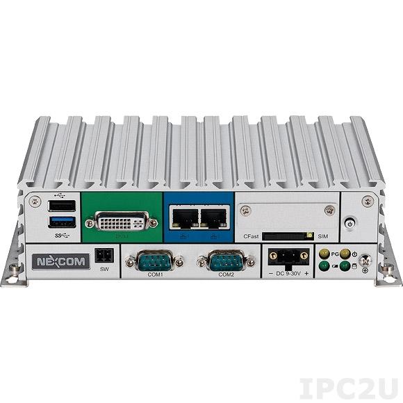 "NISE-105 Встраиваемый компьютер с Intel Atom E3826 1.46ГГц, до 8Гб DDR3L, DVI-I, HDMI, 2xGbE LAN, 2xRS-232, 2xRS-232/422/485, 3xUSB, Audio, отсек для 2.5"" SATA HDD, CFast слот, Mini-PCIe, 9..30В DC, без адаптера питания"