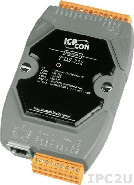 PDS-732 Программируемый Ethernet сервер последовательных интерфейсов, 2xRS-232, 1xRS-485, 4xDI/4xDO