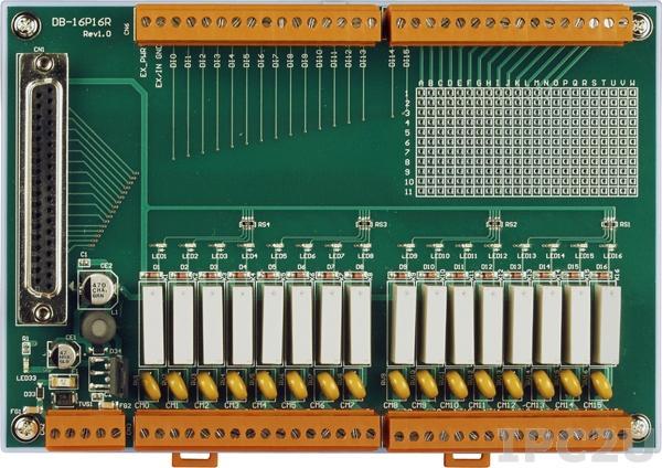 DB-16P16R Выносная плата 16 дискретных входов и 16 реле с перекидными контактами(250Vac/30Vdc@5A)