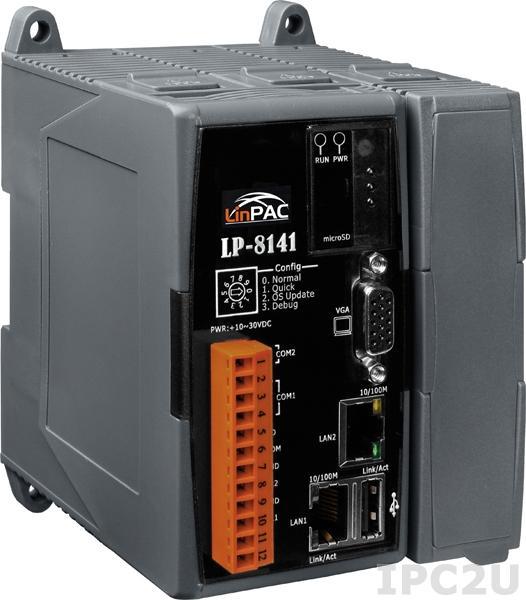 LP-8141-EN PC-совместимый промышленный контроллер Intel PXA270 520МГц, 128Mб SDRAM, 32Мб/48Mб Flash, 1xRS-232, 1xRS-485, 2xEthernet, 1 слот расширения, Linux 2.6.19