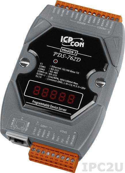PDS-762D Программируемый Ethernet сервер последовательных интерфейсов, 5xRS-232, 1xRS-485, 1xDI/2xDO, 7 - сегментный индикатор