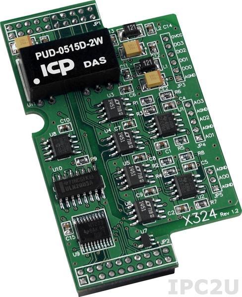 X324 Модуль 4 AO, 4 DO для I-7188XB/XG/EX/EG, uPAC-7186XB/XG/EX/EG-FM/SM/SD/FD
