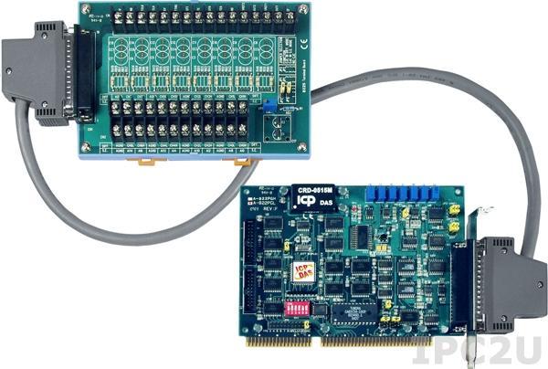 A-822PGL/S Многофункциональный адаптер ISA, 16SE/8D каналов АЦП, 2 канала ЦАП, 16DI, 16DO, таймер, плата клеммников DB-8225 и кабель CA-3710