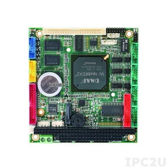 VDX2-6554-1G PC/104 процессорная плата Vortex86DX2 800МГц с 1ГБ RAM, VGA, LCD, LVDS, LAN, 4xCOM, 2xUSB, Audio, GPIO, PWMx12, рабочая температура -20..70 С