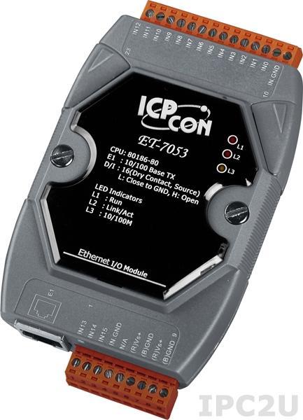 ET-7053 Модуль ввода, 16 каналов дискретного ввода, сухой контакт