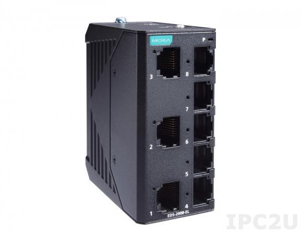 EDS-2008-EL Компактный 8-портовый неуправляемый коммутатор 10/100 BaseT(X) Ethernet, QoS, в металлическом корпусе, -10...+60C