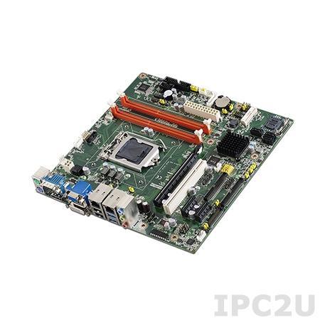AIMB-503G2-00A1E Процессорная плата Micro-ATX для Intel Core i7/i5/i3, LGA1150, до 16Гб DDR3 DIMM, VGA, DVI, 2xGbE, 6xSATA, 10xCOM, 9xUSB, слоты расширения 1xPCIe x16, 2xPCIe x1, 1xPCI