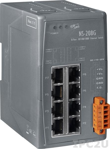 NS-208G Промышленный 8-портовый неуправляемый коммутатор 10/100/1000 BaseT(X) Ethernet, питание +10...+30 VDC, пластиковый корпус, -40...+75С