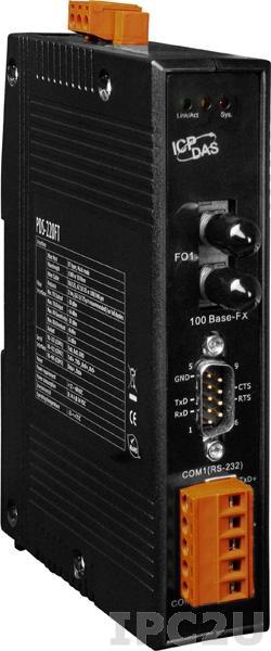 PDS-220FT Программируемый Ethernet сервер последовательных интерфейсов, 1xRS-232, 1xRS-485, 1xMulti-mode ST, RoHS