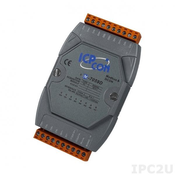 M-7059D Модуль дискретного ввода, 8 каналов DI с изоляцией, RS-485, MODBUS, DCON, LED-дисплей