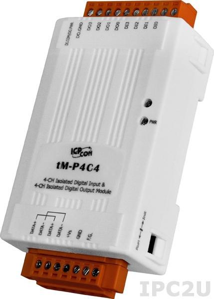 tM-P4C4 Модуль ввода - вывода, 4 канала дискретного ввода / 4 канала дискретного вывода, Modbus RTU/ASCII, DCON