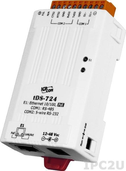 tDS-724 Преобразователь RS-232/485 в Ethernet, 1xRS-232, 1xRS-485, PoE