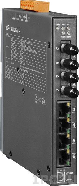 NSM-206AFT-T Промышленный 6-портовый неуправляемый коммутатор: 4 порта 10/100 Base-T Ethernet, 2 порта 100BaseFX (многомодовое волокно, разъем ST, до 2 км), металлический корпус