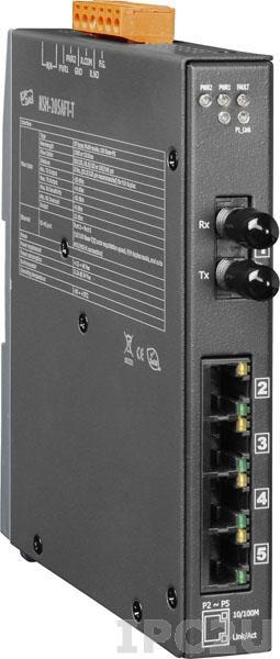 NSM-205AFT-T Промышленный 5-портовый неуправляемый коммутатор: 4 х 10/100 BaseT(X), 1 х 100BaseFX (многомодовое волокно, разъем SТ, до 2 км), металлический корпус