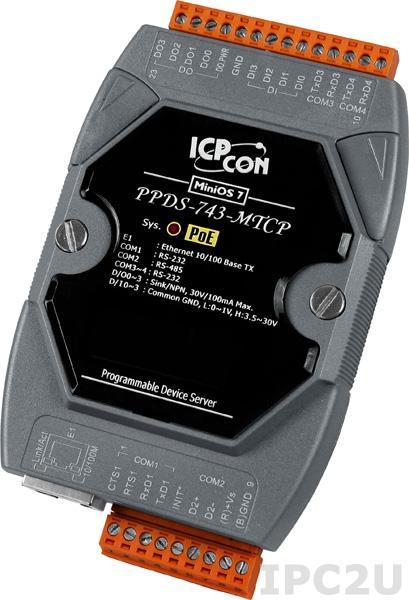 PPDS-743-MTCP Программируемый Ethernet сервер последовательных интерфейсов, шлюз Modbus TCP в Modbus RTU/ASCII, 3xRS-232, 1xRS-485, 4xDI/4xDO, POE