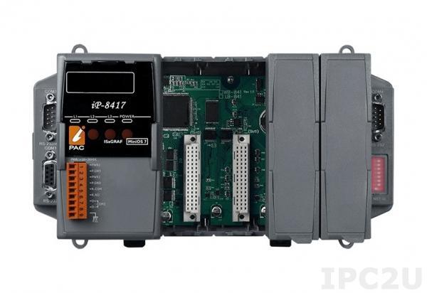 iP-8417 PC-совместимый промышленный контроллер 80МГц, 512кб Flash, 512кб SRAM, 2xRS232, 1xRS485, 1xRS232/485, 7-сегментный индикатор, Mini OS7, 4 слота расширения, IsaGRAF