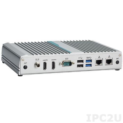 "eBOX100-312-FL-N3350 Безвентиляторный встраиваемый компьютер, чипсет SoC, Intel Celeron N3350 2.4 GHz, слот 1xDDR3L-1600 SODIMM до 8Гб, 1x2.5"" SATA HDD, 2xMini-PCIe, 1xSIM, 1xRS-232, 2xLAN, 6xUSB, 2xHDMI,адаптер питания 12/36 Вт"