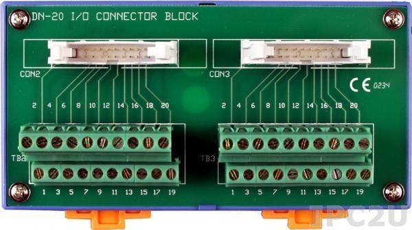 DN-20 Плата клеммников с двумя 20-контактными разъемами, монтаж на DIN-рейку