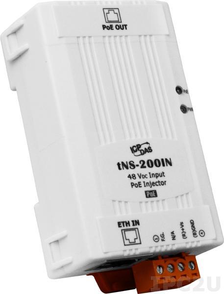 tNS-200IN Инжектор PoE, 10/100 BaseT(X) Ethernet, мощность 15.4 Вт, входное питание 48 В DC