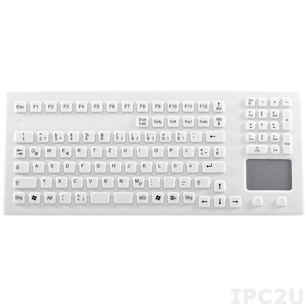 TKG-106-TOUCH-IP68-USB Промышленная силиконовая IP68 клавиатура, 106 клавиш, USB, цвет - белый