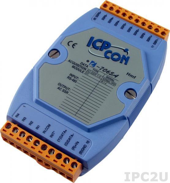 I-7065A Модуль ввода - вывода, 5 каналов вывода с твердотельного реле / 4 канала дискретного ввода, c изоляцией до 3750 В