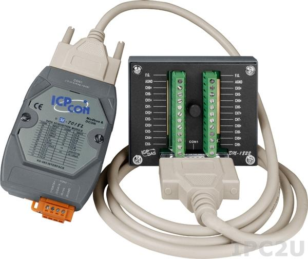M-7018Z-G/S2 Модуль ввода, 10 каналов аналогового ввода или сигнала с термопары: J. K. T. E. R. S.B. N. C. L. M, L(DIN)43710, защита от перенапряжения, Modbus RTU