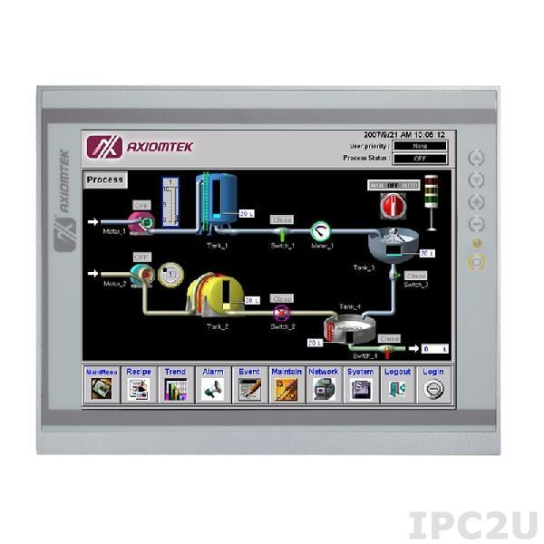 """P1127E-871-N-US w/PCIe Панельная рабочая станция с 12.1"""" XGA TFT LCD, резистивный сенсорный экран, сокет LGA1155 для Intel Core i7/ i5/ i3/Pentium/Celeron/Xeon, DDR3, 2xEthernet, 4хUSB 3.0, 2хUSB 2.0, 3хCOM-порта, 2xPCIe, динамики, IP65 по передней панели, без лого"""