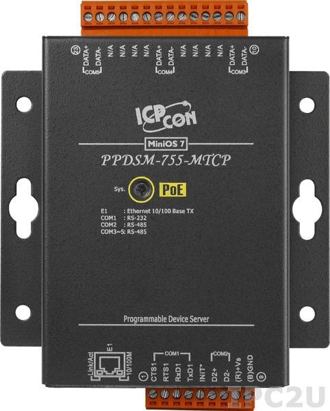 PPDSM-755-MTCP Программируемый Ethernet сервер последовательных интерфейсов, 1xRS-232, 4xRS-485, Power over Ethernet, Modbus, металлический корпус