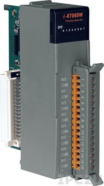 I-87069W Высокопрофильный 8-канальный модуль дискретного вывода с фотоМОП реле, последовательная шина