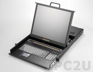 """AMK816-17CB 1U консоль для 19"""" стойки 17"""" TFT LCD монитор, клавиатура, комплект 16 х 1.8м кабель Combo VGA/KB/Mouse, 16 портов Combo KVM, Touchpad, одиночные направляющие, стальной корпус"""