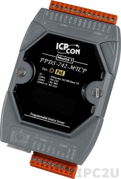 PPDS-742-MTCP Программируемый Ethernet сервер последовательных интерфейсов, шлюз Modbus TCP в Modbus RTU/ASCII, 3xRS-232, 1xRS-485, POE