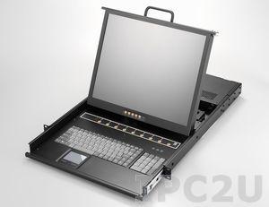 """AMK808-19PBD 1U консоль для 19"""" стойки 19"""" TFT LCD монитор, клавиатура, комплект 8 х 1.8м кабель PS2 VGA/KB/Mouse, 8 портов PS2 KVM, Touchpad, одиночные направляющие, стальной корпус, 24-48 VDC"""